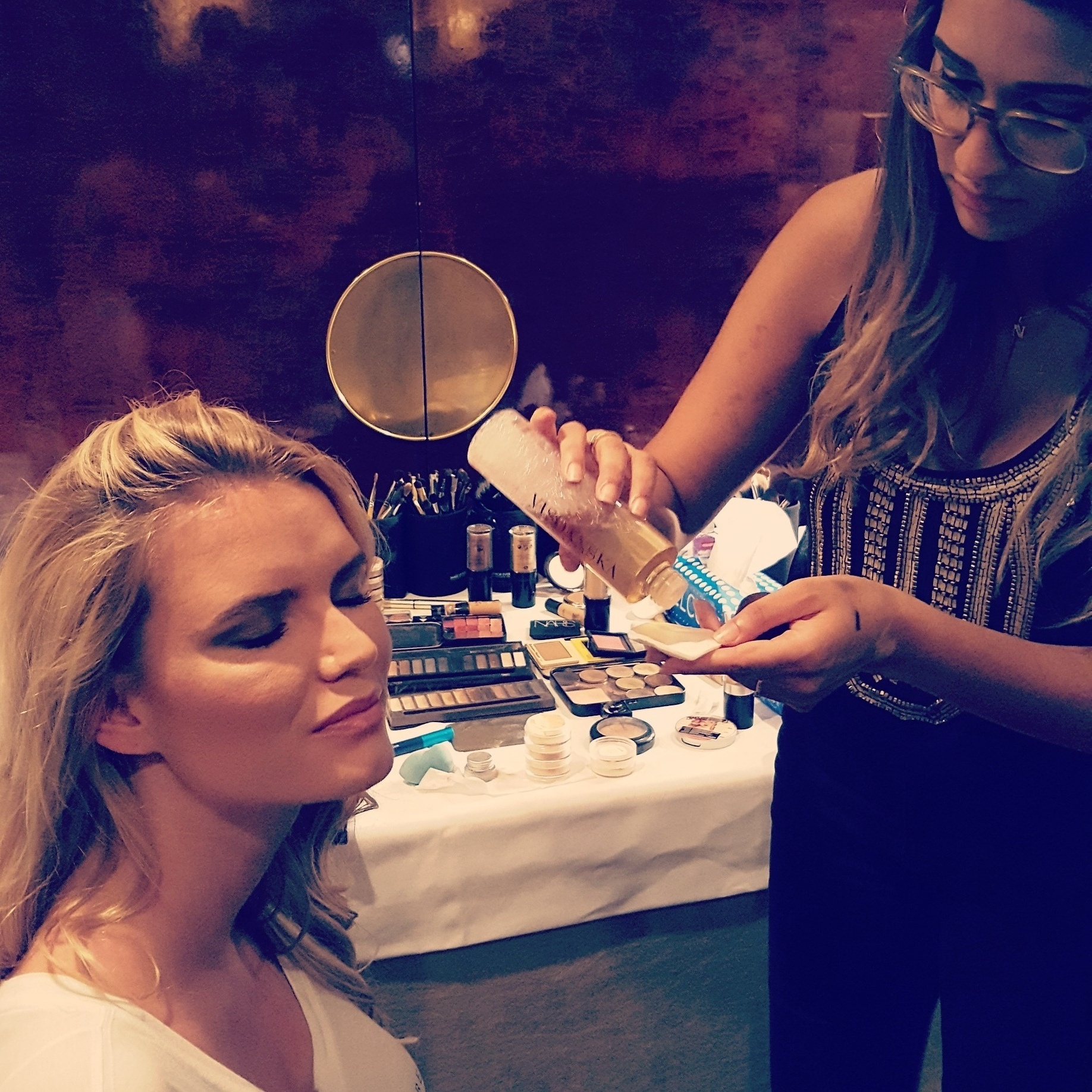 Visoanska products and the model Marie Belle on backstage